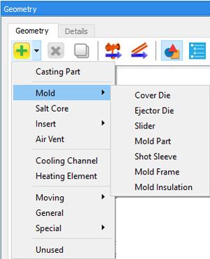 高圧ダイカスト鋳造のシミュレーションで利用できるコンポーネント。 例えば鋳型(Mold)には可動型、固定型、スライダーおよびショットスリーブなどが含まれる。